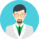 avatar, education, man, professor, researcher, scientist, user icon
