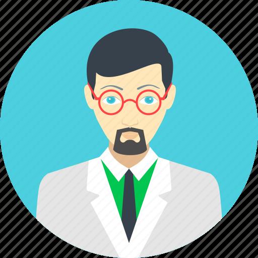 avatar, education, man, professor, researcher, scientist, user icon