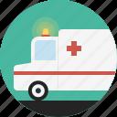 ambulance, emergency, medical, paramedic, siren, van, warning light icon