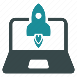 business project, laptop, rocket launch, science, startup, technology, venture company icon
