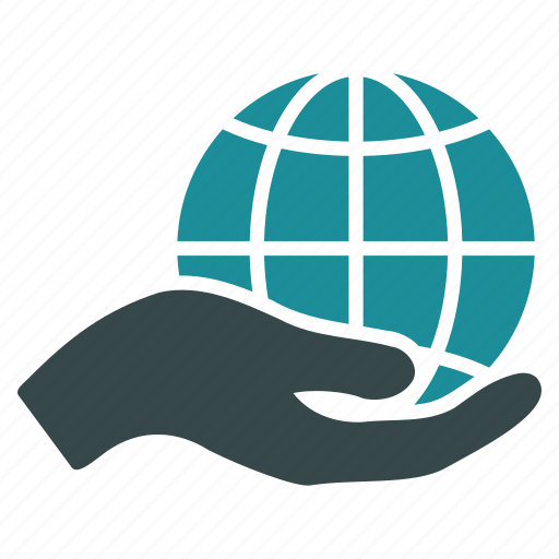 earth, global, globe, hand, offer, web, world icon