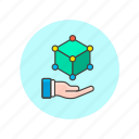 dimensional, hand, hold, model, molecule, science, technology, three icon