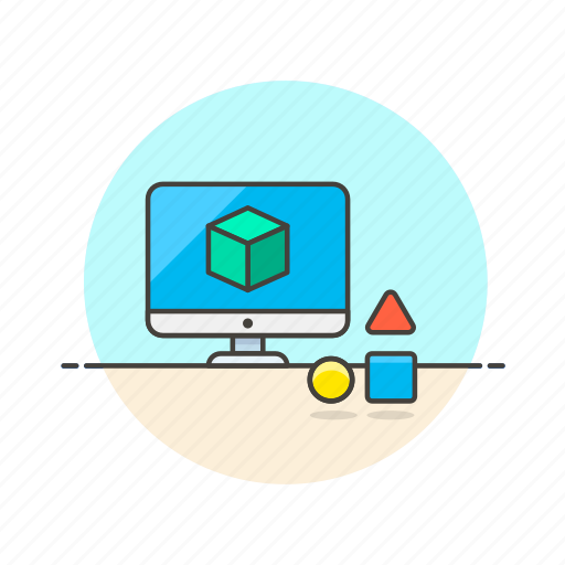 cube, imac, model, research, science, shape, technology icon
