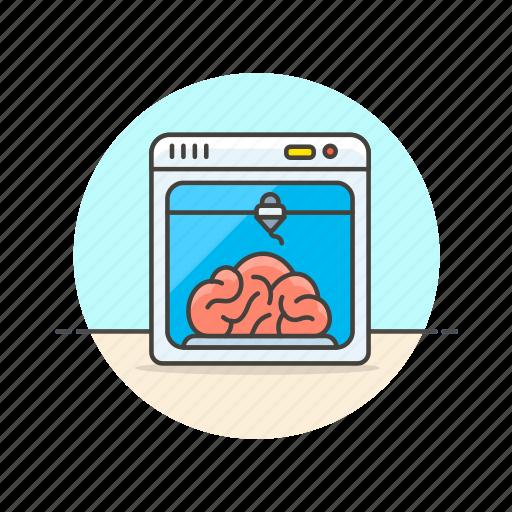 artificial, brain, dimension, printer, research, science, technology, three icon