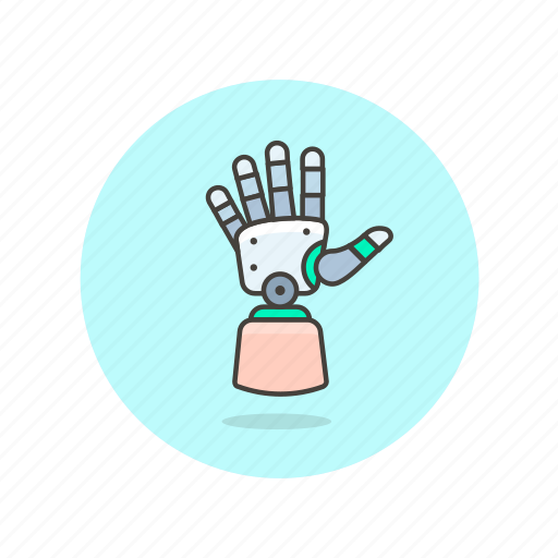 artificial, device, future, hand, limb, robot, science, technology icon