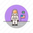 astronaut, flag, moon, science, space, technology, usa icon