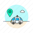 car, location, navigation, pin, science, technology, vehicle icon