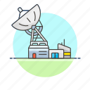 base, center, communication, satellite, science, technology, track icon