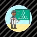 atom, board, bond, explain, man, scientist, teach, technology icon
