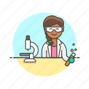 chemistry, lab, microscope, research, scientist, technology, tube, woman icon