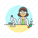 chemistry, laboratory, microscope, research, scientist, technology, woman icon