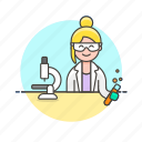 chemistry, experiment, lab, microscope, scientist, technology, woman icon