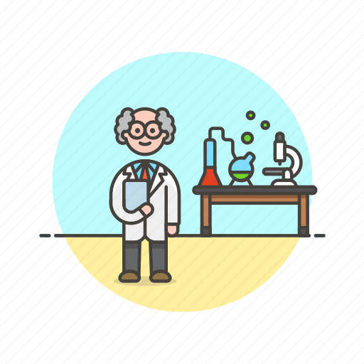 chemistry, experiment, laboratory, man, research, scientist, technology icon