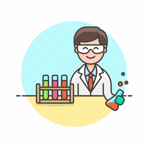 chemistry, flask, laboratory, man, scientist, technology, tube icon
