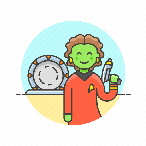 alien, outerspace, science, star, technology, trek, weapon, woman icon