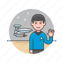 caucasian, colony, male, science, space, star, technology, trek icon