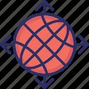 global network, globe, map, planet, worldwide icon