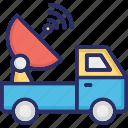 news van, ob truck, ob van, outside broadcasting, satellite truck icon