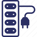 cable, cord, electricity, extension lead, power icon