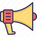 bullhorn, hailer, loudspeaker, megaphone, speaker icon