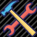 garage, hammer, repair, spanner, wrench icon