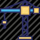 construction, crane, crane machine, lifting, tower crane icon