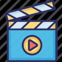 cinema, clapper, film, media, video icon