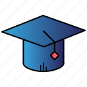 college, education, graduation, hat, science icon