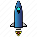 launch, rocket, science, spaceship, travel icon