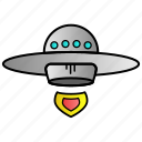 alien, science, ship, spaceship icon
