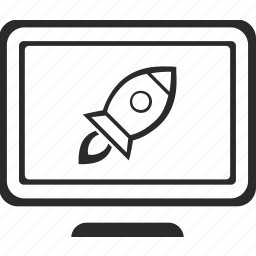 monitor, rocket, sciense, screen, view icon