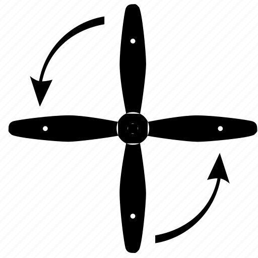 airplane, arrows, detail, engine, rotate, screw icon