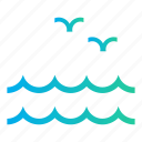 birds, ocean, sea, sea wave, sea waves, summer time icon