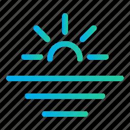 ocean, sea, summer time, sun, sunset sea, vacation, water icon