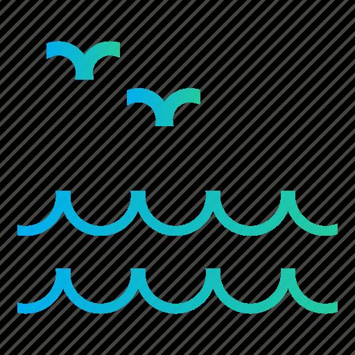birds, ocean, sea, sea wave, sea waves, summer time icon