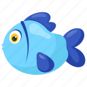 aquarium fish, blue cartoon fish, blue fish, fish, pet fish icon