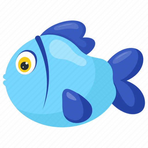 aquarium fish, blue cartoon fish, blue fish, fish, pet fish icon