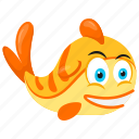 aquarium fish, cute golden fish, goldfish, sea animal, tropical fish icon