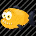 cartoon tiger fish, goliath tigerfish, hydrocynus vittatus, tigerfish, wild sea animal icon