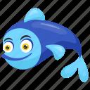 blue fish, fish, happy fish, sea animal, tropical animal icon
