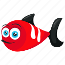 aquarium fish, aquatic animal, cartoon fish, red fish, tropical fish icon