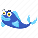 blue dolphin, blue fish, blue moorii, cichlid, tropical fish icon