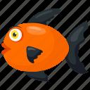 aquatic fish, cartoon fish, freshwater fish, red wag fish, tropical fish icon