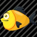 aquatic animal, cartoon fish, platy fish, tropical fish, yellow and black fish icon