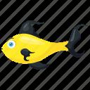 aquarium animal, cartoon fish, fish, sea animal, yellow fish icon