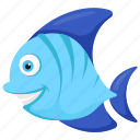 blue tang fish, paracanthurus, sea animal, spout nose fish, tropical fish icon