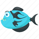 blue tigerfish, cartoon tiger fish, goliath tigerfish, tigerfish, wild sea animal icon