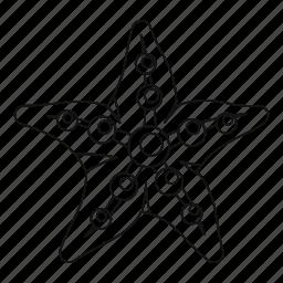 line, marine, ocean, outline, sea, starfish, thin icon