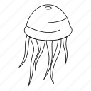 fish, jellyfish, line, octopus, outline, sea, thin icon