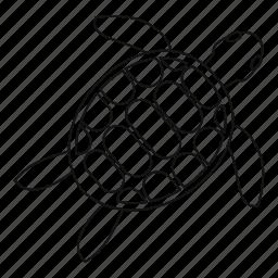 animal, line, outline, sea, thin, turtle, white icon